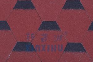 马赛克六角型玻纤沥青瓦-中国红